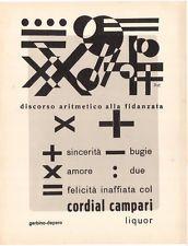 Campari - Poesia visiva pubblicitaria: Discorso aritmetico alla fidanzata -  Fortunato Depero e Gerbino
