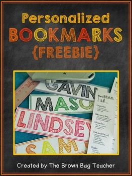 {FREEBIE} Make-Your-Own Personalized Bookmarks! The front has the student's name and the back includes reading strategies! :) **Use for locker or table tags