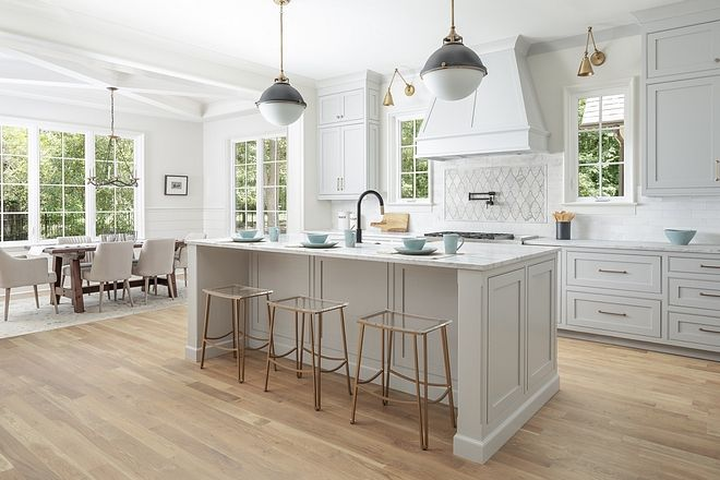 Note Have Small Case Opening Maybe Wainscoting Shiplap Benjamin Moore Silver Chain Benjamin Moore Silver Chain In 2020 Light Grey Kitchens Kitchen Island Tops Kitchen