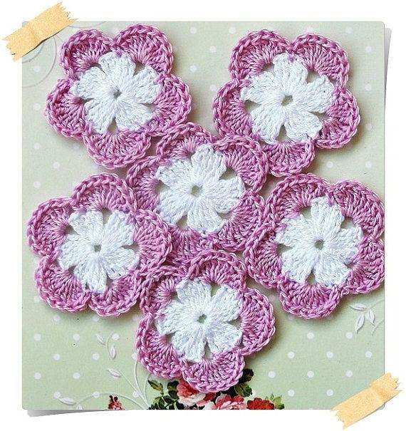 Set of 6 romantic handmade crochet flowers for by Lemoncraftshop, $3.20