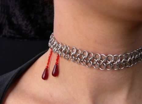 This is just too cute!! Vampire Bite Chainmaille Necklace | Handmade Chainmaille Jewelry by Rebeca Mojica