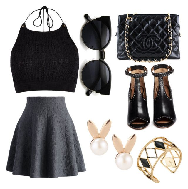 """Black"" by cosmina-styles-alina on Polyvore featuring Chicwish, Chanel, River Island, Givenchy, Aamaya by priyanka and Rebecca Minkoff"
