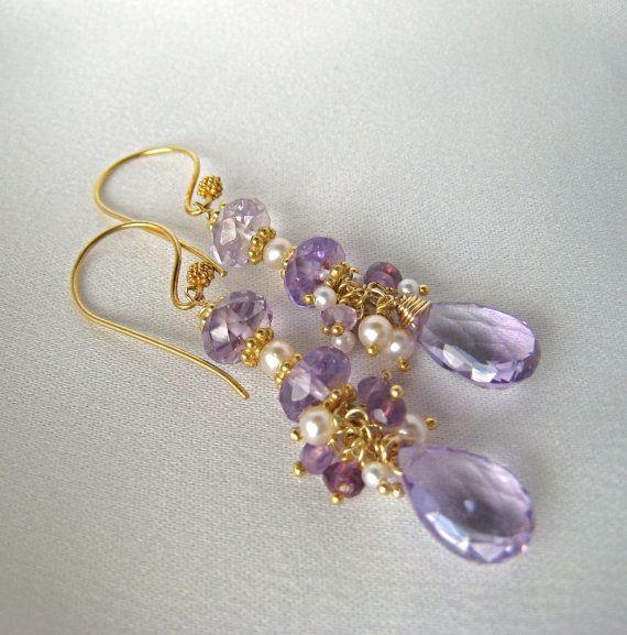 Amethyst  Ametrine  Pearl Chandellier Earrings by MariCollection, $75.00