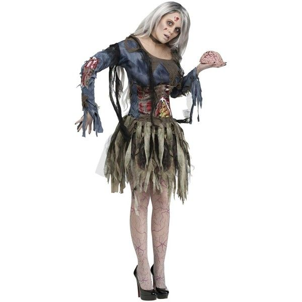 Complete Womens Zombie Costume ($45) ❤ liked on Polyvore featuring costumes, halloween costumes, ladies costumes, wig costumes, womens zombie costume, living dead doll costume and womens snow white costume