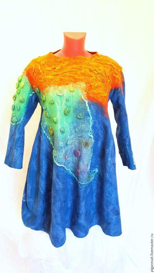 Для будущих и молодых мам ручной работы. Валяное платье баллон Материки и океаны. Таня Ягуби (WoolLove). Интернет-магазин Ярмарка Мастеров.