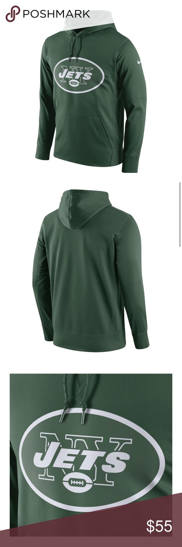 Nike New York Jets Essential Green Hoodie Large Nike Men's New York Jets Performance Circuit Logo Essential Green Hoodie   Product Information: Standard Fit, Hooded Sweatshirt Drawstring-adjustable hood Kangaroo pouch pocket Tagless neck label  Screen-Printed Team Graphics Silicone team logo printed on the chest Official NFL shield  Warm, Insulated Fabric Technology Therma-FIT® insulation keeps you warm and comfortable  Additional Details Officially licensed by the NFL Fabric: 100% polyester…