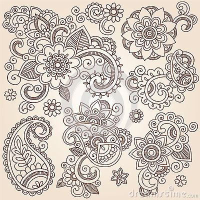 Henna Mehndi Paisley Flowers Vector Tattoo Illustr by Blue67, via Dreamstime