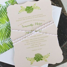Succulent Wedding Invitation (Elegant Wedding Invitation)