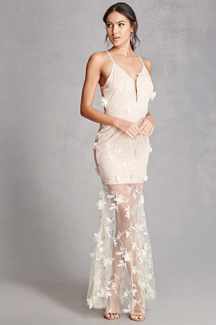 This floor-length gown features a sheer mesh overlay with floral applique detailing and embroidery throughout, a plunging neckline, adjustable straps, a concealed back zip closure, and a mini dress lining.  This is an independent brand and not a Forever 21 branded item.