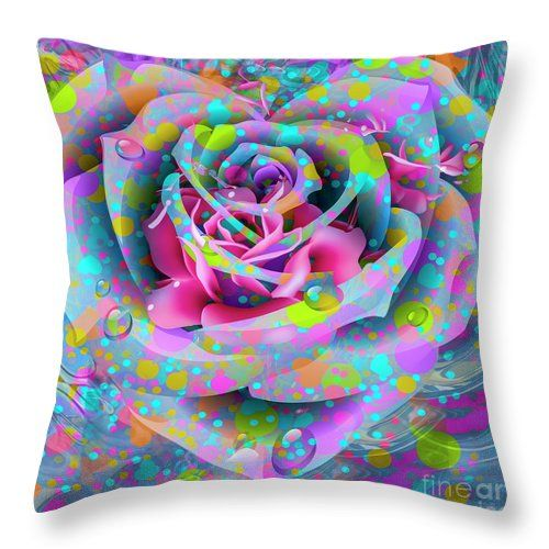 Petals Throw Pillow featuring the digital art Rose by Eleni Mac Synodinos