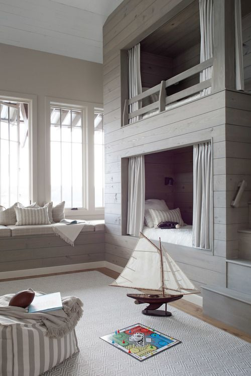 Custom Shiplap Bunk Beds with Built in Bench in Neutral Kids Room | Christopher Architects