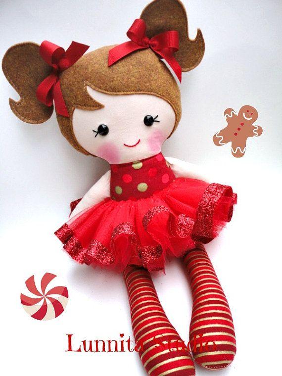 Holiday doll Handmade cloth dollChristmas by lunnitastudio on Etsy