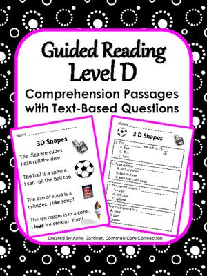 Reading Comprehension Passages with Multiple Choice Questions: Guided Reading Level D from Common Core Connection on TeachersNotebook.com