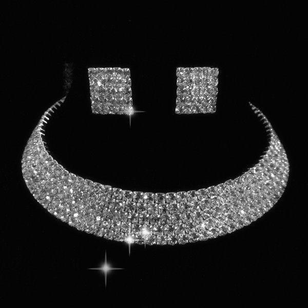 Мода 5 рядов свадебные кристалл серьги ожерелья пром гп серебряных ювелирных изделий комплект оптовая продажа покрыло-золотые украшения серебряный крюк