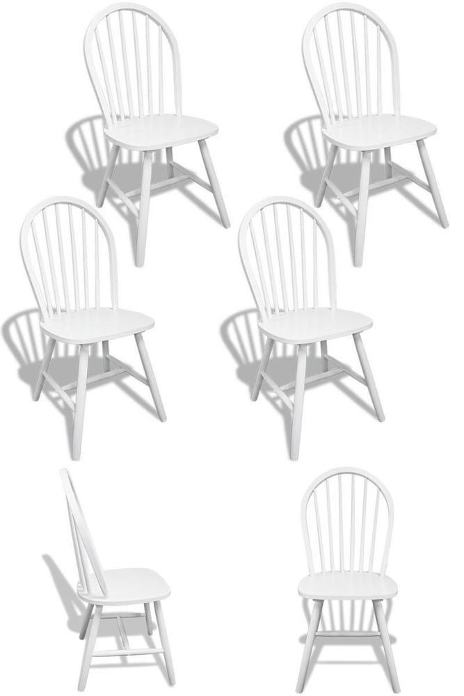 White Rustic Chairs 4 Pieces Wooden Country Kitchen Dining Room Seats Furniture