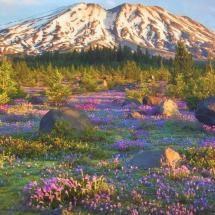 bergen in bloei