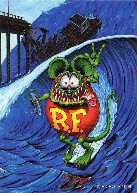 rat fink ed big daddy roth rat surfing