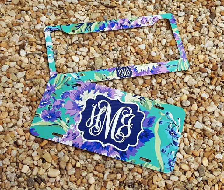 NEW! Floral Monogram License Plate Frame - Amy Butler Inspired - Monogram Car Tag Front License Plate Personalized Plate by TheGlitterSquad on Etsy https://www.etsy.com/listing/460453080/new-floral-monogram-license-plate-frame