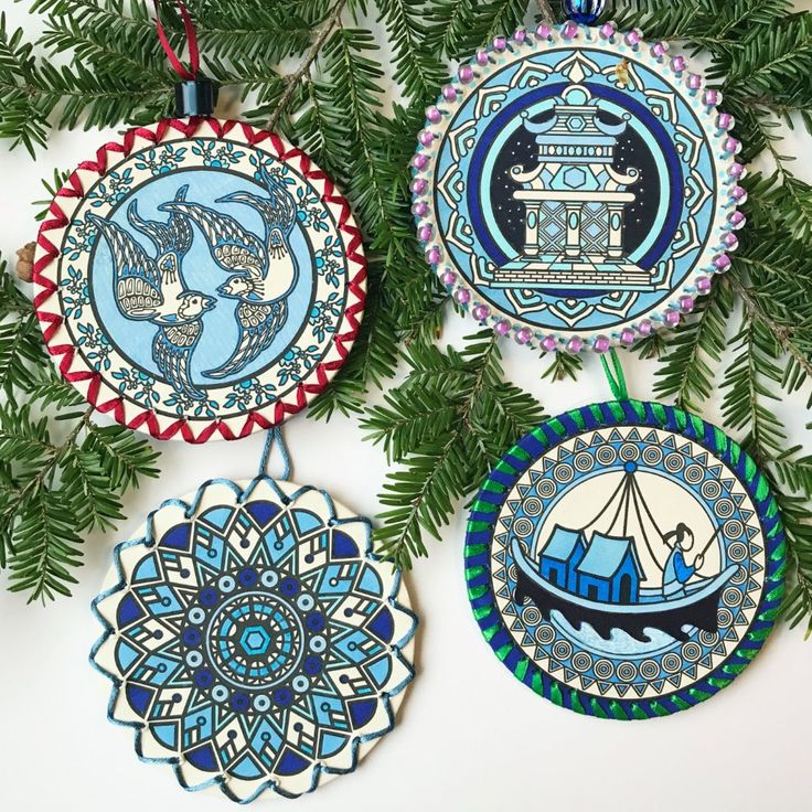 Patty Vadalias Rendition Of Her Coloring Coasters Turned Into Beautiful Christmas Ornaments