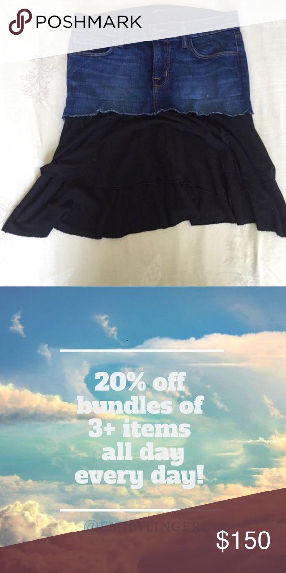 Custom Distressed Jean Skirt Custom distressed Jean Skirt. Restyled Denim at its finest. Collaboration between J.brand and Splendid. Skirts Mini