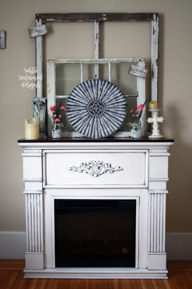 Farmhouse-Chic Fireplace Makeover #DIY #furniturepaint #paintedfurniture #homedecor #glaze #white #fireplace #mantle #farmhouse #rustic #countrychicpaint - blog.countrychicpaint.com
