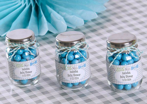 Baby boy baby shower or birthday personalized glass favor jars #mylittleman