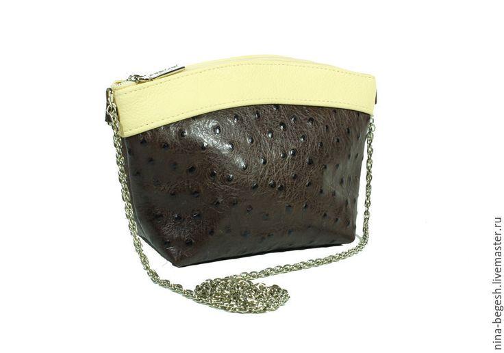 """Купить Клатч-косметичка """"Шоколадный страус"""", сумка кожаная, косметичка - коричневый, клатч, косметичка, сумка"""