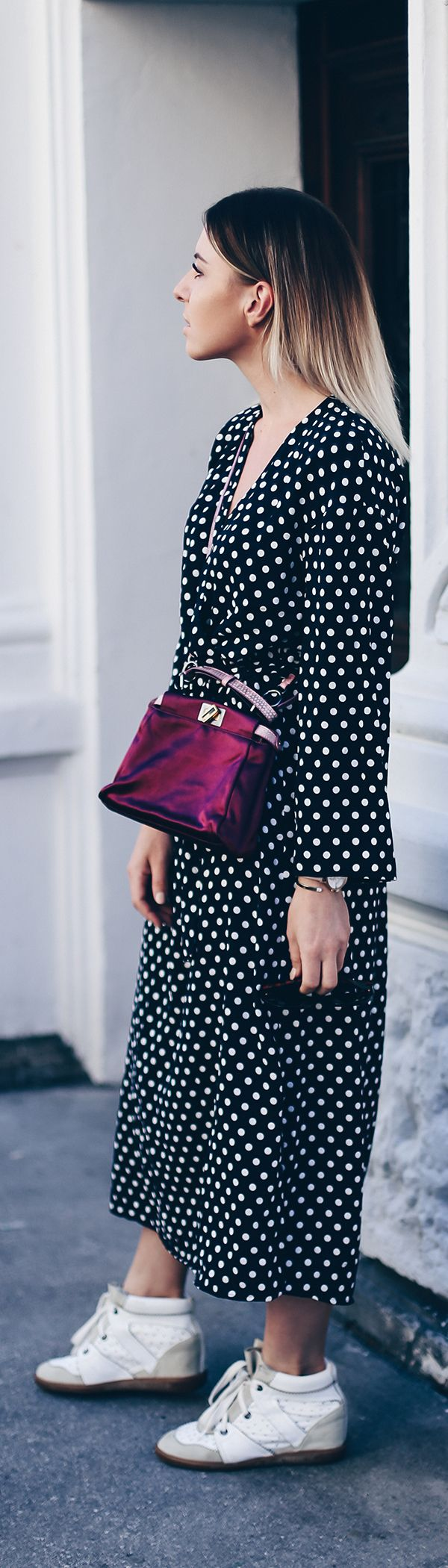 Polka Dots Kleid stylen, Herbst Trends, Sneaker Wedges Isabel Marant, Fendi Peekaboo Bag, Streetstyle, Outfit Ideen, Fashion Blog, Modeblog, Outfit Blog, www.whoismocca.com