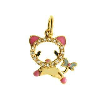 Liontin Berlian dan Emas 75% Jumping Cat Ribbon