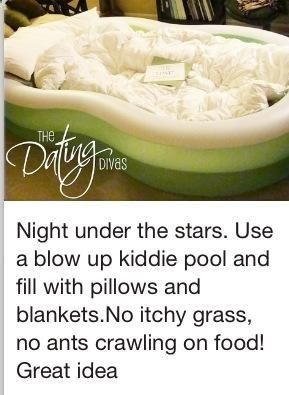 Night under the stars. Use a blow-up kiddie pool and fill it with pillows and blankets. No itchy grass :)