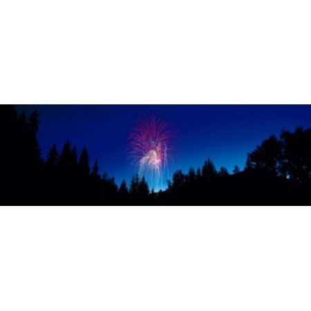 Fireworks Canada Day Banff National Park Alberta Canada Canvas Art - Panoramic Images (36 x 12)
