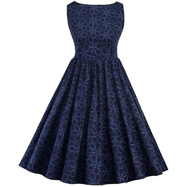 Pearl Indigo Blue 2xl Floral Print Sleeveless A Line Swing Dress ❤ liked on Polyvore featuring dresses, sleeveless swing dress, blue swing dress, a line dress, sleeveless floral dress and floral print dress