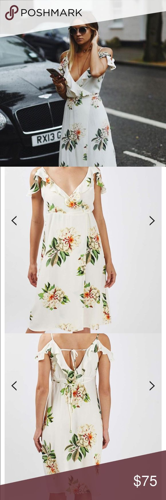 Topshop Floral Print Wrap Dress Topshop floral midi dress with shoulder cut out detail. Hits below the knee. Never been worn! Topshop PETITE Dresses Midi