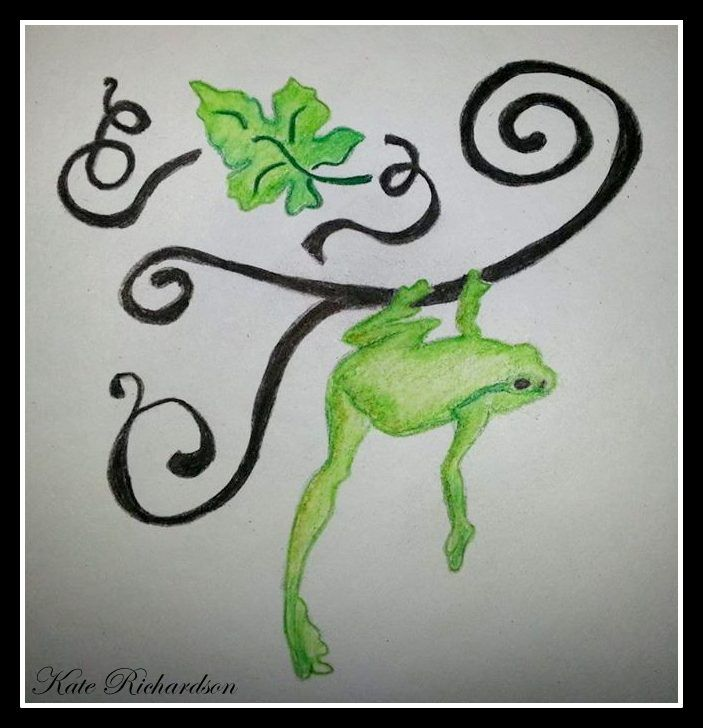 Tattoo design of tree frog on vine second style.  you are welcome to use this as a tattoo. the only condition is that you tell me that you are using it, not change the design and send me a photo of it!   also it is not to be used for profit in any way and please give credit where it is due. thanks.