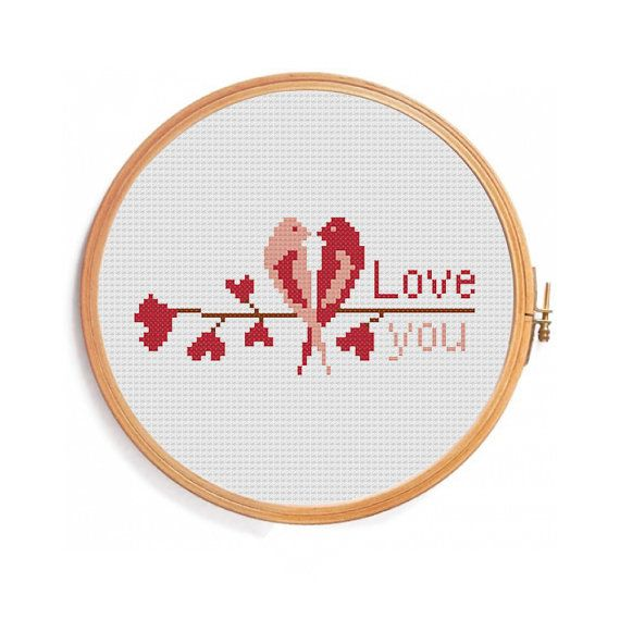 Love Birds - Love You - cross stitch pattern - perfect gift for Valentines Day!  ONLY PATTERN! Floss DMC, 3 colors Canvas: Aida 14 Grid Size: 80W x 42H Design Area: 5,07 x 2,36 (71 x 33 stitches)   This PDF pattern Included: - Color image of the finished design - Color Block Chart - Color Floss Legend with DMC stranded cotton  In order to open these files you will need Adobe Reader, which can be downloaded here for free: www.adobe.com/products/reader . Use 2 strands of thread for cross…