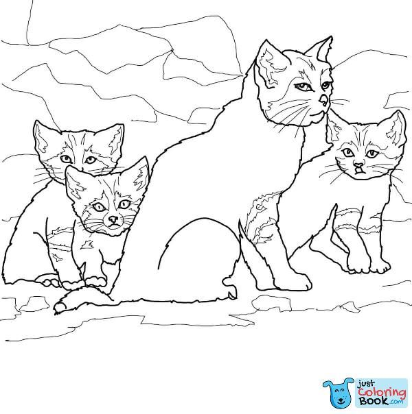 Sand Cat Kittens With Mother Coloring Page