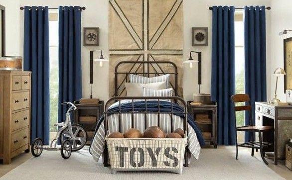 Сине-кремовый дизайн комнаты для мальчика