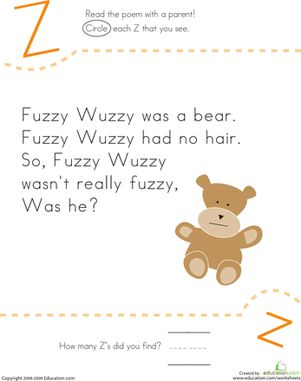 Kindergarten Poetry Letter Z Worksheets: Find the Letter Z: Fuzzy Wuzzy