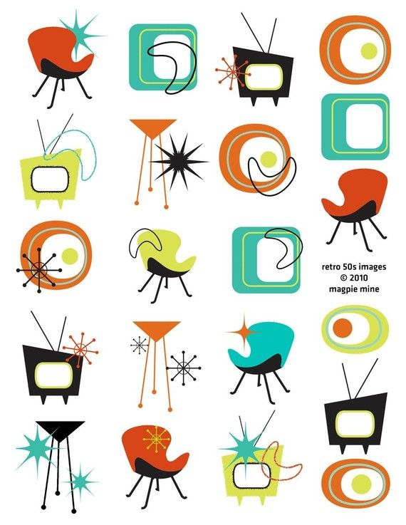 Mid Century Designs Retro Collage Sheet - 1950s 1960s - Household and Abstract Items -Digital Download - Instant Download