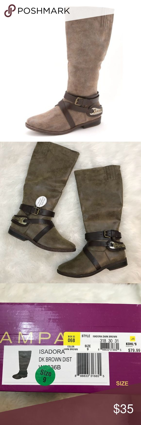 NIB Isadora Dark Brown Rampage Riding Boots sz 9 New in box! (No box top was included) Rampage riding boots. Size 9. Dark brown. Half zip. Mid calf length. Approx 0.5 inch heel. Rampage Shoes Combat & Moto Boots