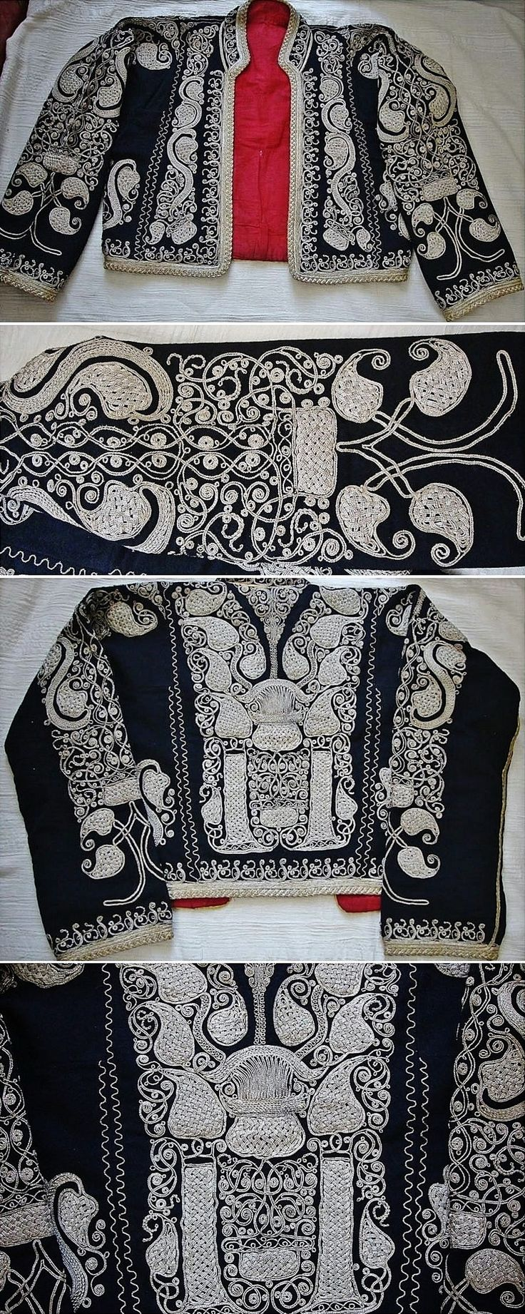 Traditional embroidered women's 'cepken' (long-sleeved vest) from the Havran district (in the western part of the Balıkesir province). Locally called 'çuha'. Early 20th century. Design: 'armutlu' (= with pear-motif). 'Silver' metal thread on velvet; embroidery technique: 'kordon tutturma' (applied cord). (Source: Tekin Uludoğan, Balıkesir).