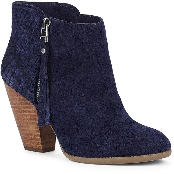 Sole Society Zada Woven Ankle Bootie (£64) ❤ liked on Polyvore featuring shoes, boots, ankle booties, ankle boots, sapatos, botas, new navy, navy booties, suede high heel boots and navy blue ankle boots