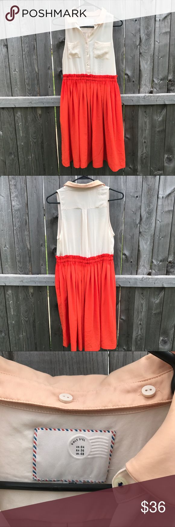 """Postmark Color Block Shirt Dress. Size 4 Orange skirt with cream top and muted pink collar. Button front. Removable collar. Polyester. Machine wash shirt dress from Anthropologie. There is a small stain on the front right pocket and a small run in the back neither are noticeable unless you are specifically looking for them. 18"""" across from armpit to armpit. Waist stretches up to 17"""" across. 28"""" inseam. Skirt is 22"""". This is perfect for the office or a night out! Anthropologie Dresses Mini"""