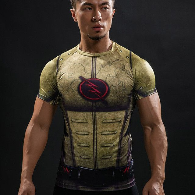 Marvel The Flash Men's Short Sleeve 3D Printed Quick Dry Compression T-Shirt, Yellow