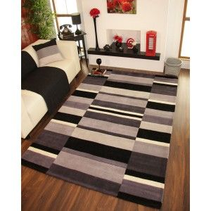 Grey and Black Striped Modern Rug
