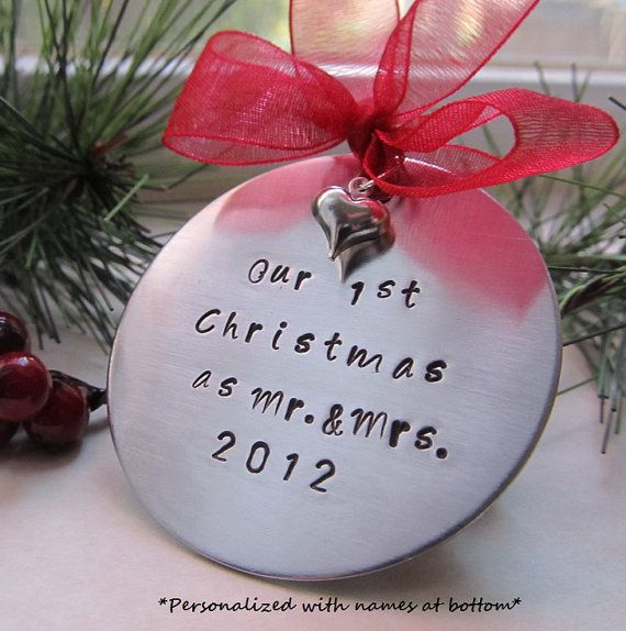 Personalized Hand Stamped Christmas Ornament Our First Christmas Hand stamped Ornament Mr. and Mrs. Ornament Heart Ornament Wedding Gift on Etsy, $22.00