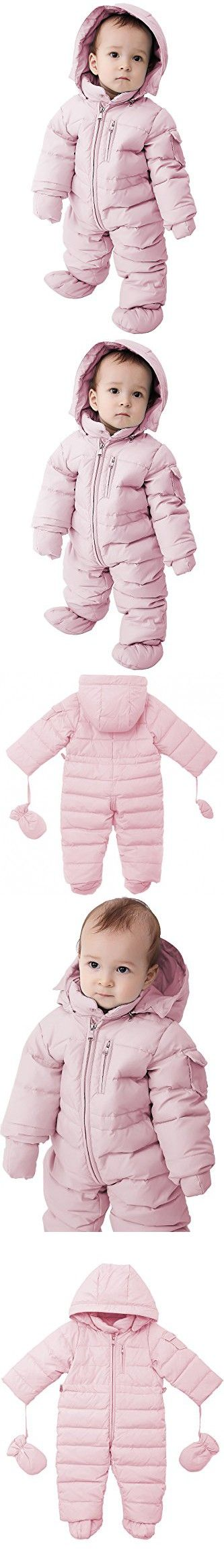 Oceankids Baby Boys Girls Pink Pram One-Piece Snowsuit Attached Hood 12M 9-12 Months