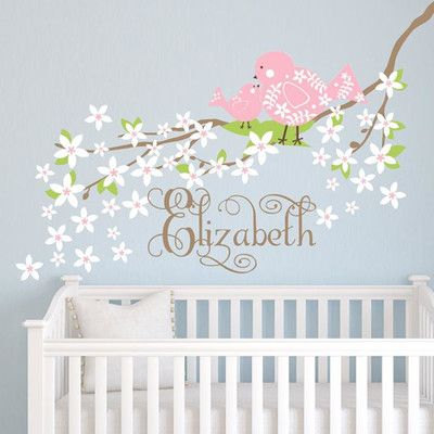 Alphabet Garden Designs Baby Bird Branch Wall Decal Branch Direction: Left, Decal Fabric Color: Lilac, Vinyl Color: Hot Pink