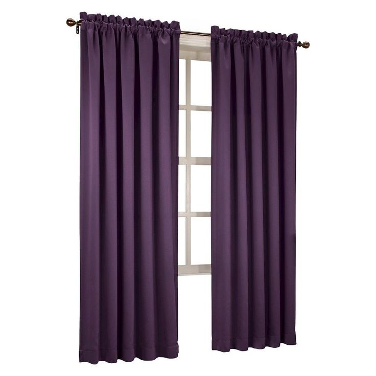 "Seymour Room Darkening Pole Top Curtain Panel Plum (Purple) (54""x84"") Sun Zero"