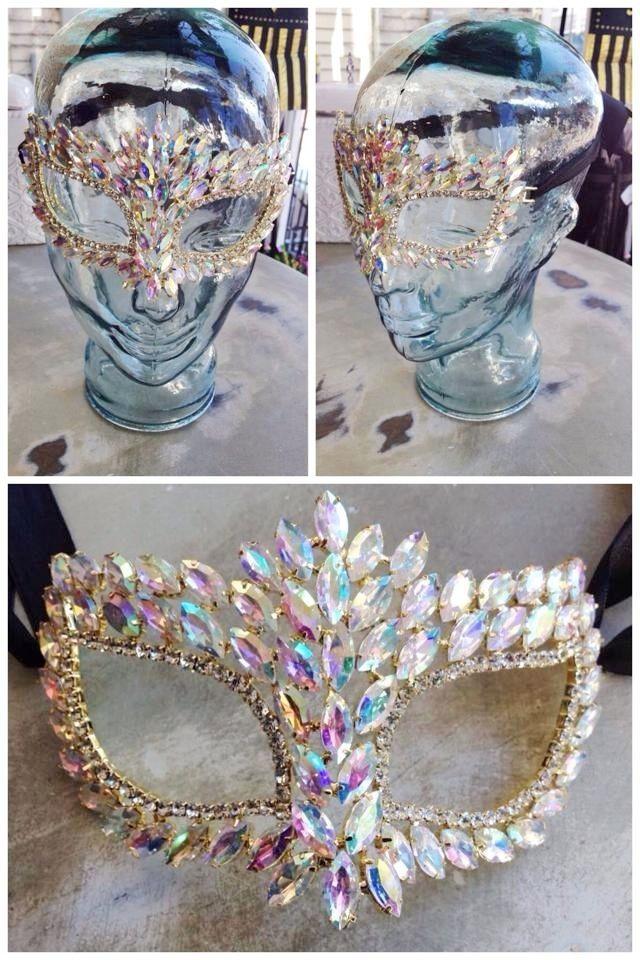 Fleurty Girl - Everything New Orleans - Rhinestone Mask, Iridescent - Mardi Gras - Specialty Shops